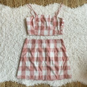 Forever 21 NWOT Pink Gingham 2 Piece Set Small